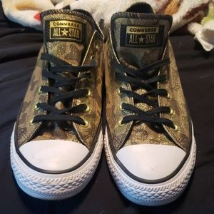 Converse Gold Metallic Army Camo Size 9 womens